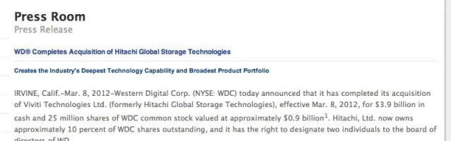Western Digital buys Hitachi Global Storage… three months ago