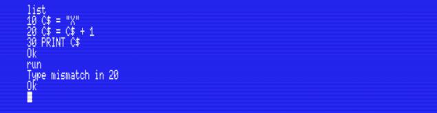 Type mismatch error in MSX-BASIC