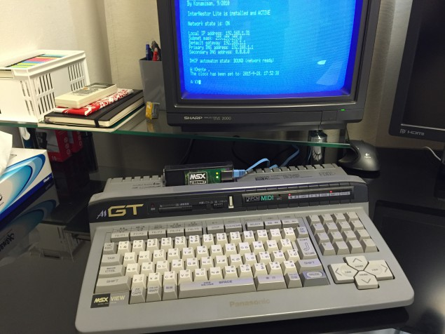 Tecnobytes' MSX Ethernet on the FS-A1GT (click to enlarge)