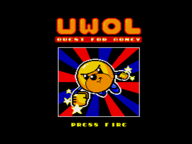 Uwol, Quest For Money - MSX2 title screen (click to enlarge)